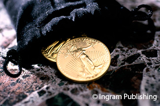 Liberty Gold coins in a pouch