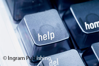 Close-up of the help key on a computer keyboard